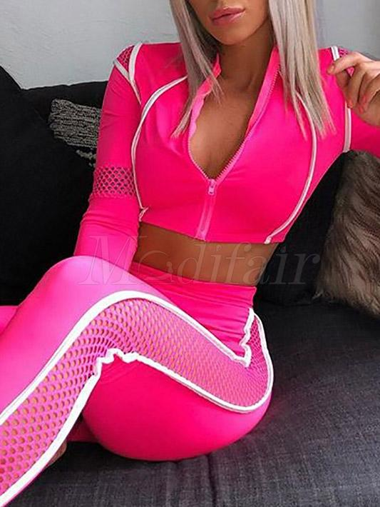 Mesh Hollow Zipper Split-joint Sports Suits
