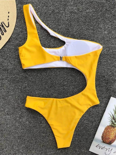 Sexy Cropped Solid One-piece Swimwear