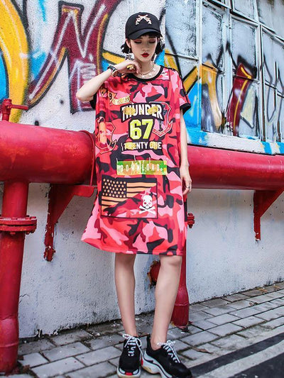 Camouflage Printed T-Shirt Dress