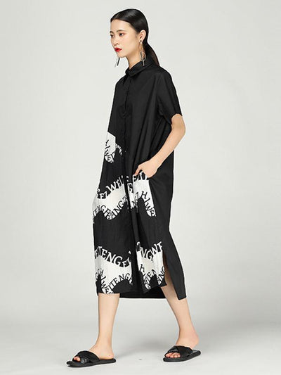 Irregular Ink Long Cotton Dress