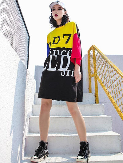Loose Printed Letter T-Shirt Dress