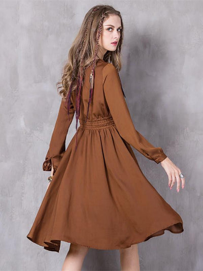 Spring Hollow Out Lanon Vestido O-Neck Open Fork Collar Lantern Sleeves Waist Belt Dress