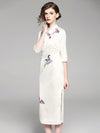 Long Chinese Traditional Authentic Dress in Apricot Color and Floral Print