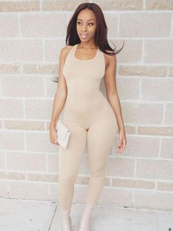 Sleeveless Straight Leg Sports Jumpsuits