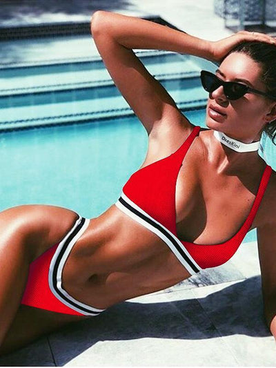 Ribbed Striped Bikinis Swimwear
