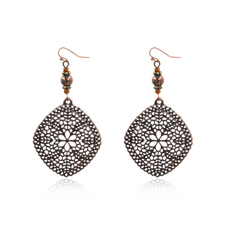 Diamond shaped pine stone vintage ethnic earrings
