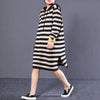 Women Cotton Hooded Striped Black Gray Sweater Dress