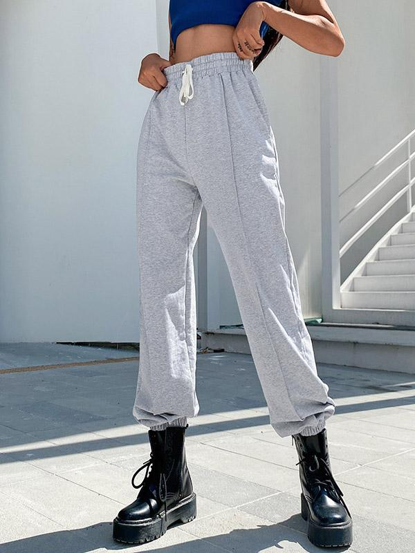 Loose Solid Color High-Waisted Casual Pants Bottoms