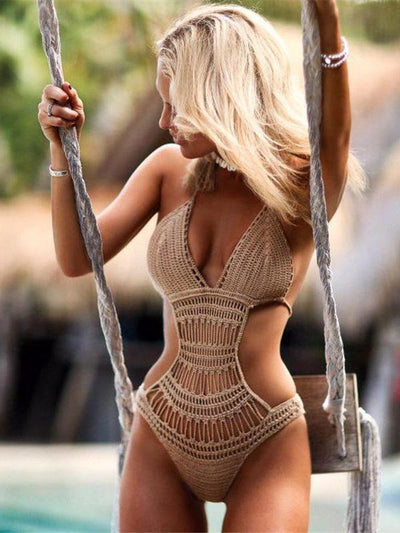 Knitted Bohemia Solod Color One-piece Swimwear