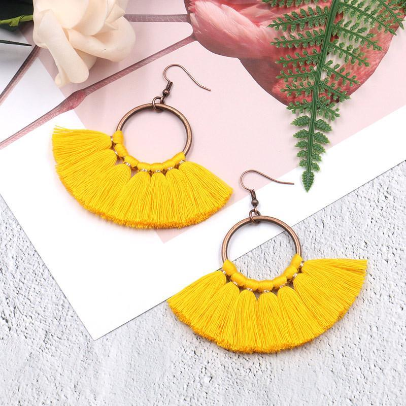 creative handmade fan-shaped tassel Bohemian earrings