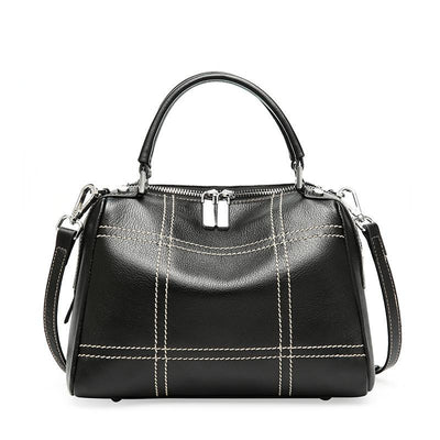 Fashionable Boston leather hand bag with crossbody style