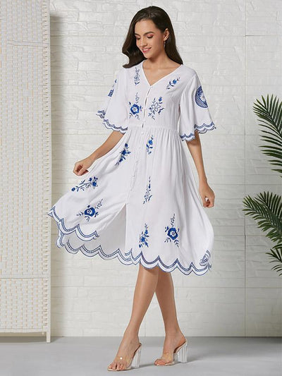 Bohemia Embroidered Hollow  Lace-trimmed Cotton Midi Dress