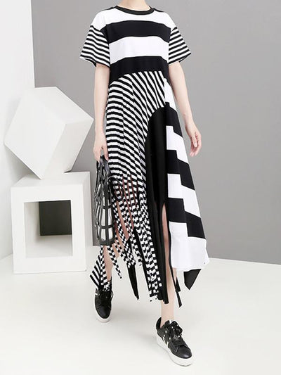 Original Asymmetric Striped Dress