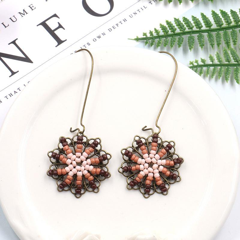 Bohemian ethnic style flower earrings rice beads hand-woven Earrings Wholesale