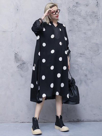 Loose Polka-dot Long Dress