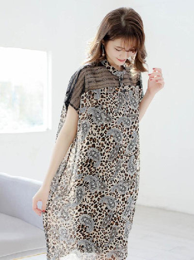 Loose Lace Leopard Print Split-joint Shirt Dress