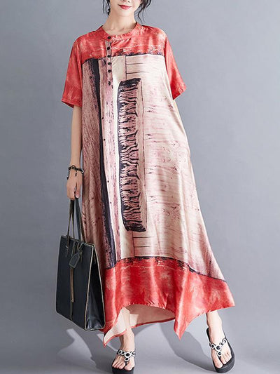 Casual Retro Cropped  Loose Long Dress