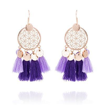 Hot tassel fashion gold round hollow Bohemian jewelry Earrings Wholesale