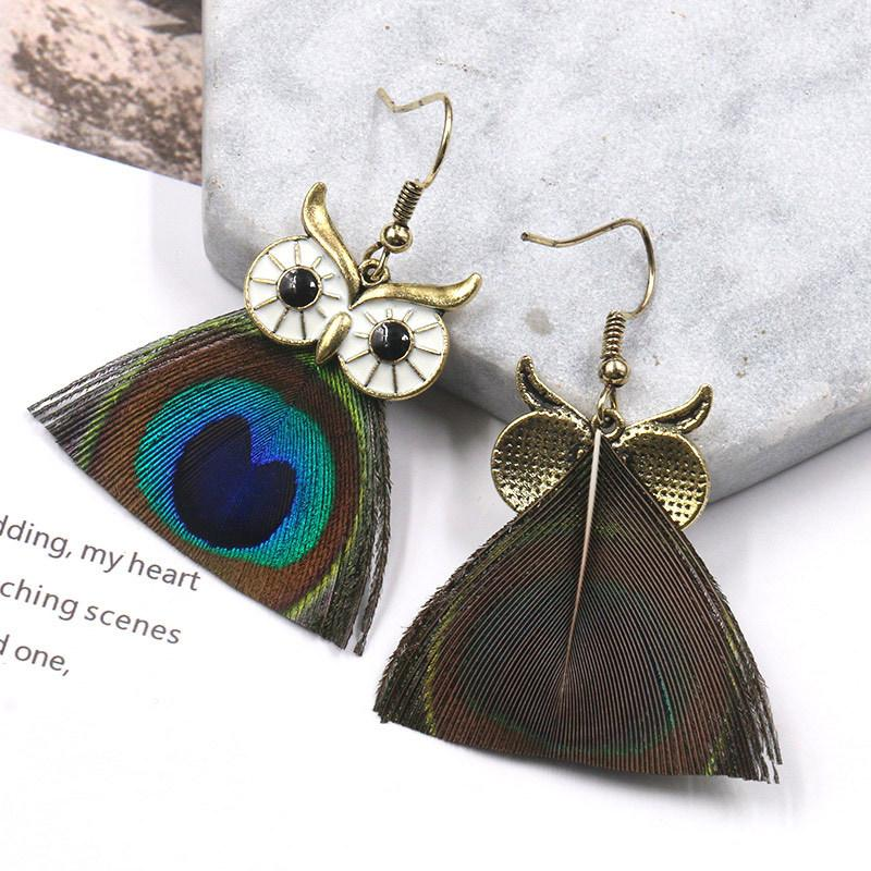 Trend Owl Earrings Creative Peacock Feather Drop bohemian  Earrings Wholesale