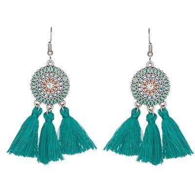 Bohemian fashion long tassel earrings ladies creative alloy earrings