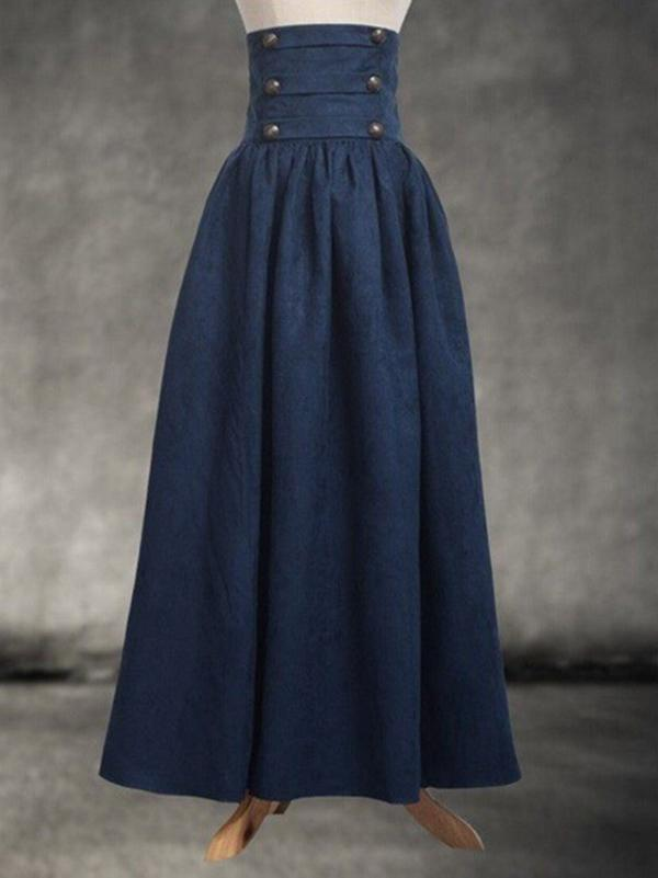Plain High Waist Pleated Retro Skirt