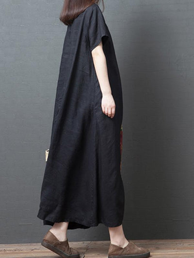 Loose National Split-joint Long Dress