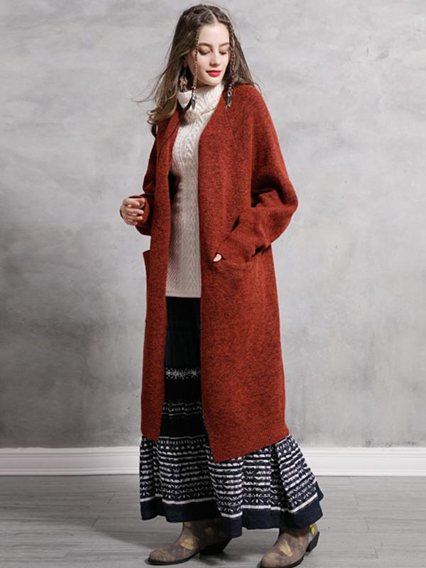Autumn Winter Boho V-Neck Lantern Sleeve Thick Cardigans Vintage Long Wool Knit Coats