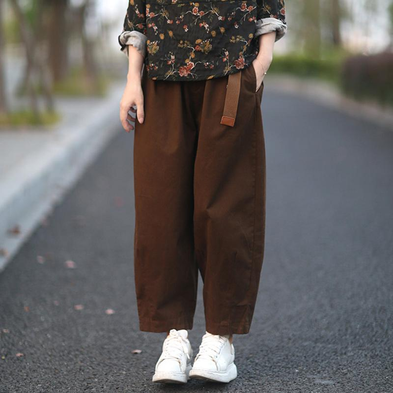Casual Pure Color Bloom Pants With Belt
