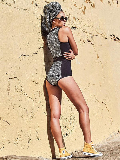 Vintage Zipper Printed One-piece Swimwear