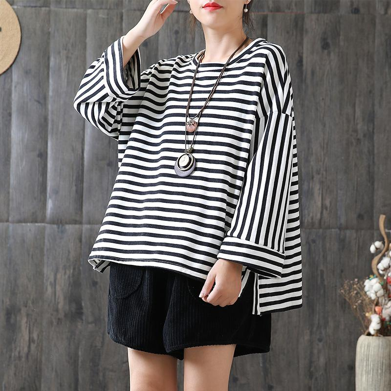 New Loose Stripe Cotton Plus Size T-shirt
