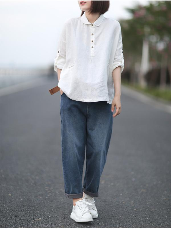 Loose Solid Linen Lapel Shirt