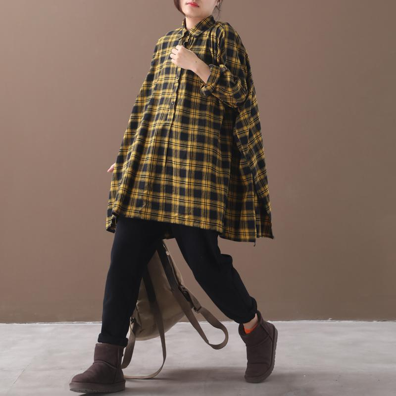 Plus Size - Split Hem Casual Loose Tartan Shirt