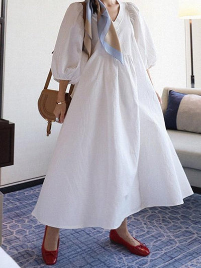 Classical V-necked Loosen White Long Dress
