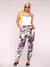 Plus Size Purple Camouflage Printed Track Pants