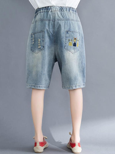 Loose Embroidered Casual Jean Shorts