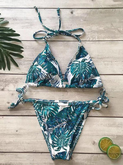 Lace Up Printed Bikini Set