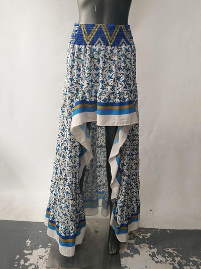 Asymmetric Printed Waisted Bohemia Skirt