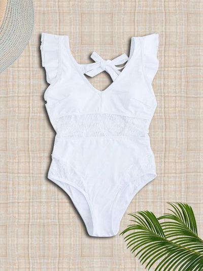 Lace Backless Plain One-piece Swimwear