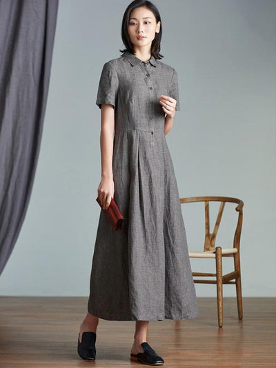 Elegant Linen Slim Long Dress