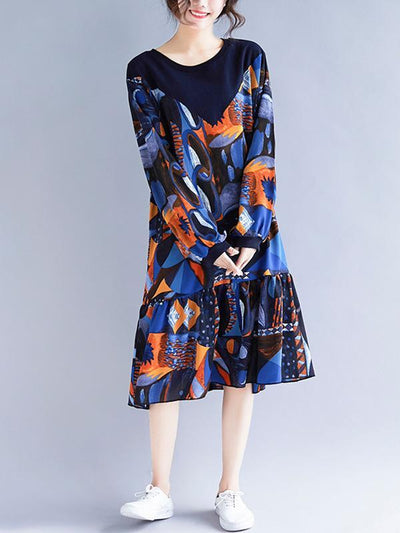 Plus Size Loose Abstract Painted Long Dress