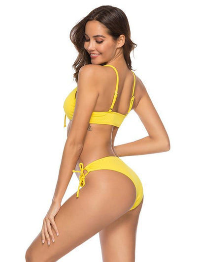 Lattice Textured Yellow Bikini Set