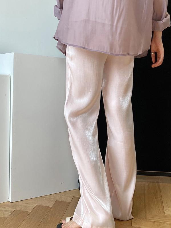 Loose Light Soft Satin Wide-Leg Long Pants