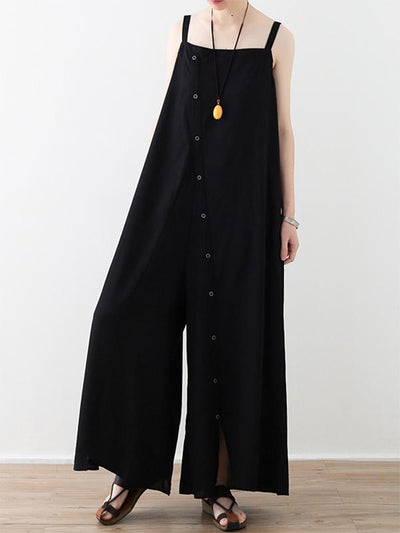 Thin Black Sleeveless Split-joint Wide Leg Jumpsuits