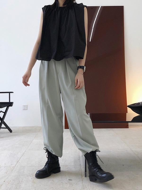Casual Solid Column Pants Bottoms