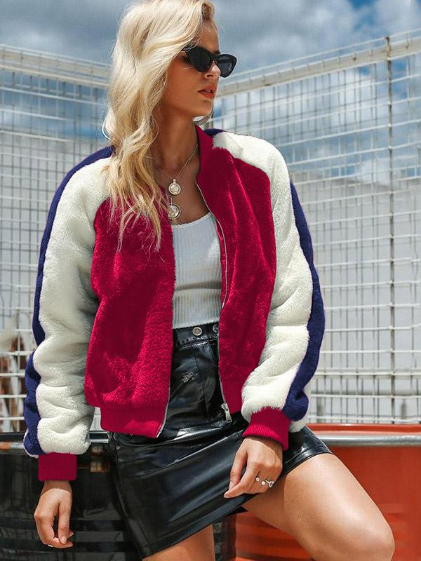 Imitation Lamb Wool Color-block Short Coat