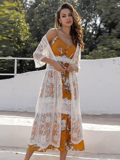 Solid Color Flower Embroidery Cover Ups
