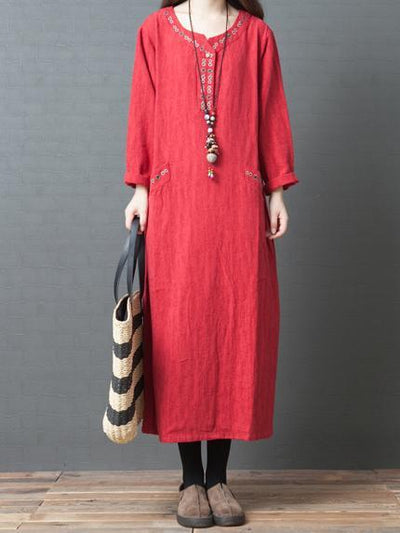 3 Colors Long Sleeves Long Dress
