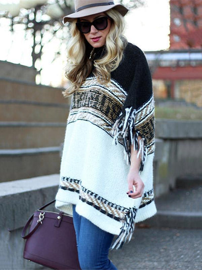 Loose Striped Long Sleeves Sweater Tops