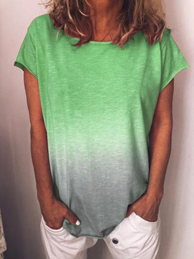 Plus Size Round Neck Gradient Fringed T-shirt