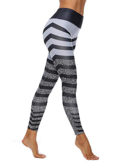 Printed  Zebra-stripe Split-joint Leggings